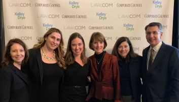 Ellen Dwyer (center) was joined by Crowell & Moring partners Rebecca Ricigliano, Chahira Solh, Stephanie Marcantonio, Cheryl Falvey, and firm chair Philip Inglima.